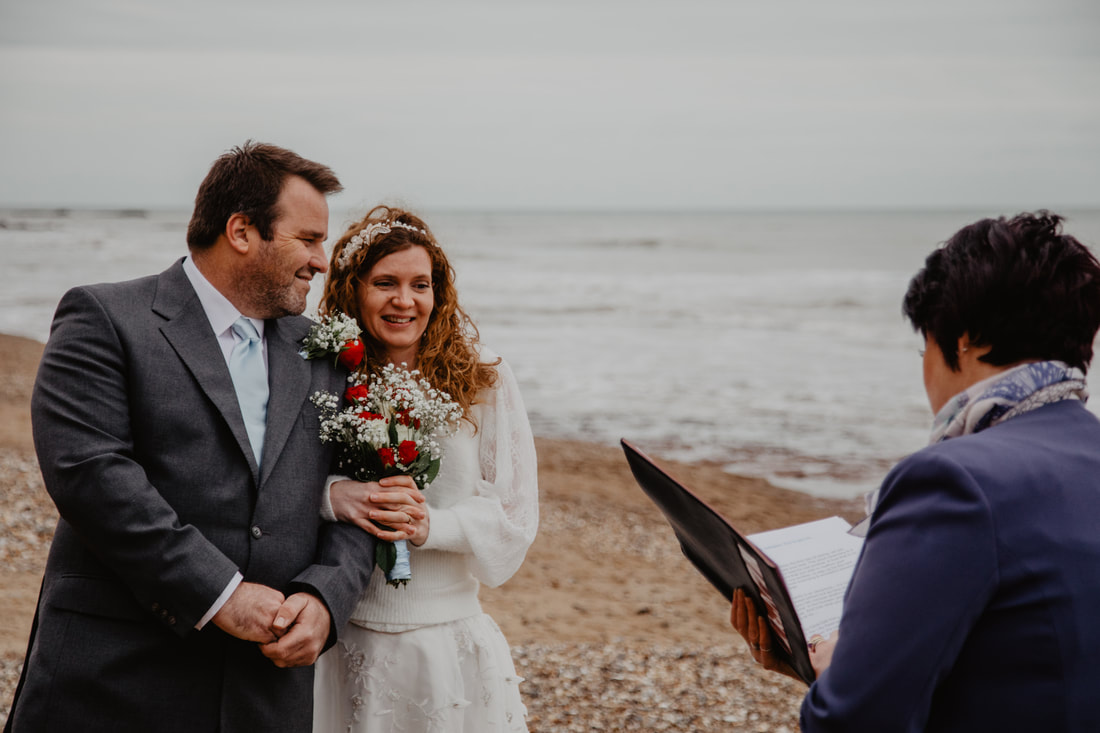 Hannah & Simon's Vow Renewal at Compton Beach and The Needles Battery : Holly Cade - Alternative Candid Documentary Wedding & Portrait Photographer. Available to shoot on the Isle of Wight, Portsmouth, Southampton, Hampshire, the South Coast of England, throughout the UK and Worldwide.